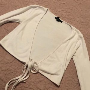 Tops - Plunging white tie front top